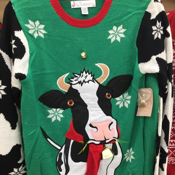 Sweaters New Ugly Christmas Sweater With Cow Adult Nwt M Poshmark